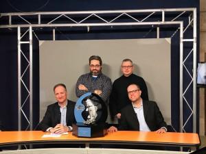 Silvio Smania, Roberto Berardi, Pierluigi Piro e Matteo Mittica  Con il trofeo negli studio di Tv9