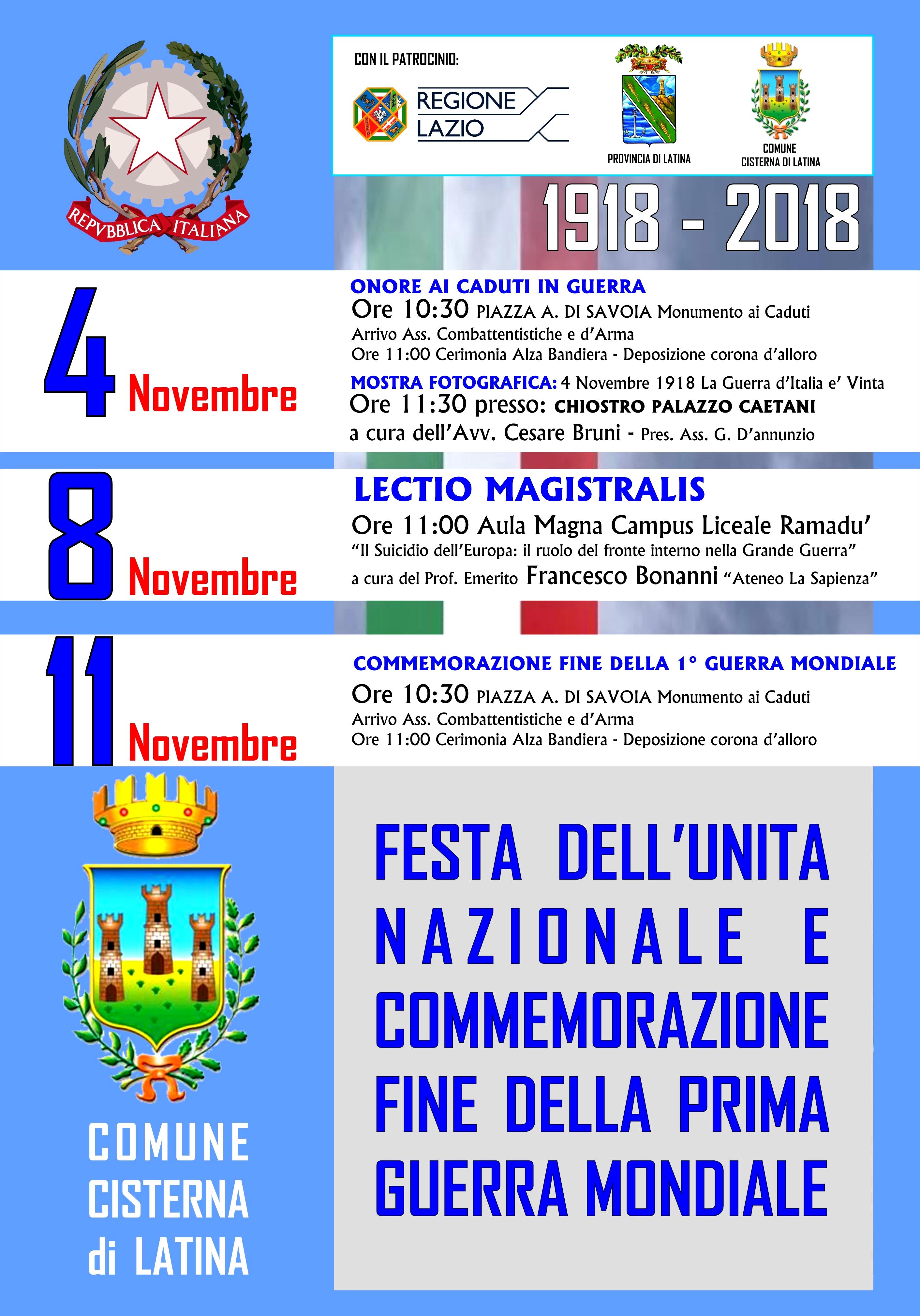 Cisterna: Una settimana di cerimonie per il Centenario della Prima Guerra Mondiale